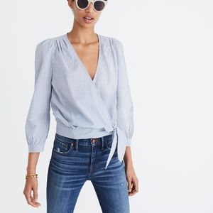 Madewell Wrap Top in Indigo Stripe